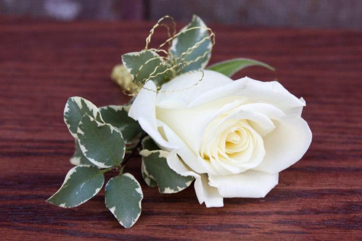 White Garden Rose Boutonniere corsages - ludemas